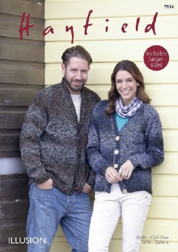 Shawl and V Necked Cardigans Knitting Pattern, Hayfield 7934, 32/34 -52/54 in